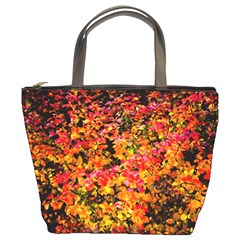 Orange, Yellow Cotoneaster Leaves In Autumn Bucket Bags by FunnyCow