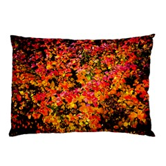 Orange, Yellow Cotoneaster Leaves In Autumn Pillow Case by FunnyCow