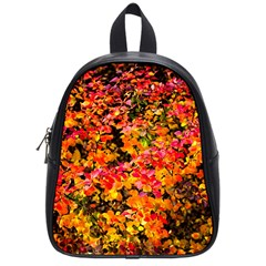 Orange, Yellow Cotoneaster Leaves In Autumn School Bag (small) by FunnyCow