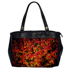 Orange, Yellow Cotoneaster Leaves In Autumn Office Handbags by FunnyCow