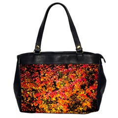 Orange, Yellow Cotoneaster Leaves In Autumn Office Handbags (2 Sides)  by FunnyCow