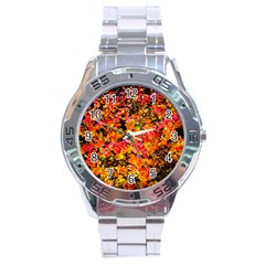 Orange, Yellow Cotoneaster Leaves In Autumn Stainless Steel Analogue Watch by FunnyCow
