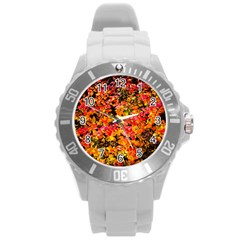 Orange, Yellow Cotoneaster Leaves In Autumn Round Plastic Sport Watch (l) by FunnyCow