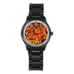 Orange, Yellow Cotoneaster Leaves In Autumn Stainless Steel Round Watch by FunnyCow