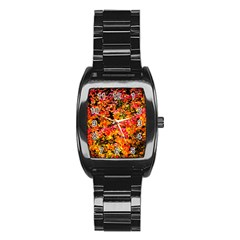 Orange, Yellow Cotoneaster Leaves In Autumn Stainless Steel Barrel Watch by FunnyCow