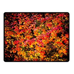 Orange, Yellow Cotoneaster Leaves In Autumn Double Sided Fleece Blanket (small)  by FunnyCow