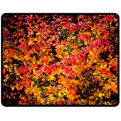 Orange, Yellow Cotoneaster Leaves In Autumn Double Sided Fleece Blanket (medium)  by FunnyCow