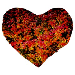 Orange, Yellow Cotoneaster Leaves In Autumn Large 19  Premium Flano Heart Shape Cushions by FunnyCow