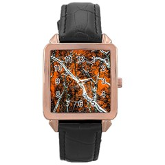 Red Night Of Winter Rose Gold Leather Watch  by FunnyCow