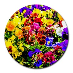 Viola Tricolor Flowers Round Mousepads by FunnyCow