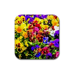 Viola Tricolor Flowers Rubber Coaster (square)  by FunnyCow