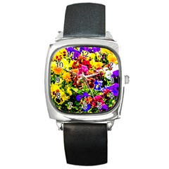 Viola Tricolor Flowers Square Metal Watch by FunnyCow