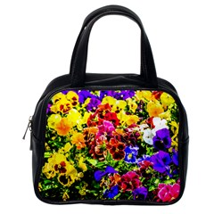 Viola Tricolor Flowers Classic Handbags (one Side) by FunnyCow