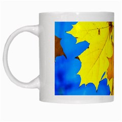Yellow Maple Leaves White Mugs by FunnyCow