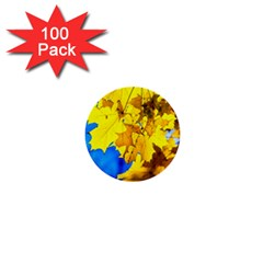 Yellow Maple Leaves 1  Mini Buttons (100 Pack)  by FunnyCow