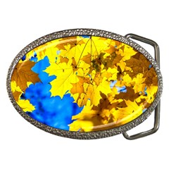 Yellow Maple Leaves Belt Buckles by FunnyCow