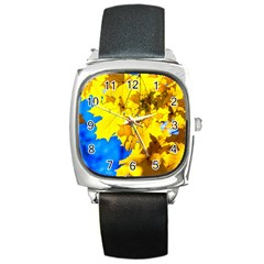 Yellow Maple Leaves Square Metal Watch by FunnyCow