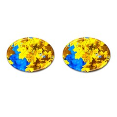 Yellow Maple Leaves Cufflinks (oval) by FunnyCow