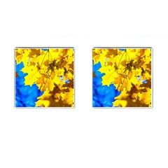 Yellow Maple Leaves Cufflinks (square) by FunnyCow