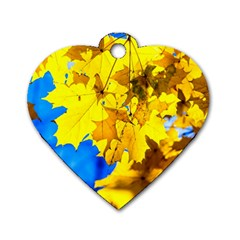 Yellow Maple Leaves Dog Tag Heart (one Side) by FunnyCow