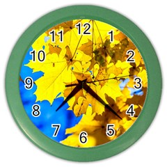 Yellow Maple Leaves Color Wall Clock by FunnyCow
