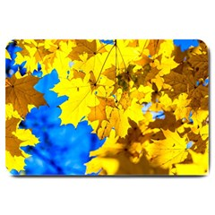 Yellow Maple Leaves Large Doormat  by FunnyCow