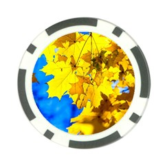 Yellow Maple Leaves Poker Chip Card Guard by FunnyCow