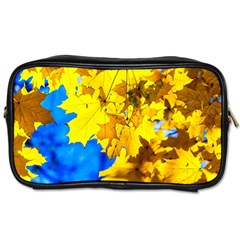 Yellow Maple Leaves Toiletries Bags by FunnyCow
