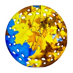 Yellow Maple Leaves Ornament (round Filigree) by FunnyCow