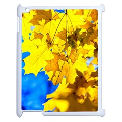 Yellow Maple Leaves Apple Ipad 2 Case (white) by FunnyCow