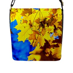 Yellow Maple Leaves Flap Messenger Bag (l)  by FunnyCow
