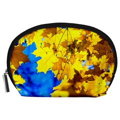 Yellow Maple Leaves Accessory Pouches (large)  by FunnyCow