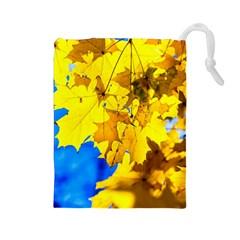 Yellow Maple Leaves Drawstring Pouches (large)  by FunnyCow