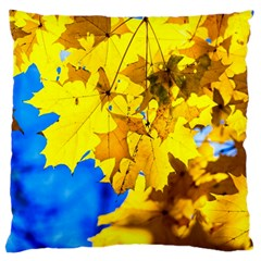 Yellow Maple Leaves Large Flano Cushion Case (one Side) by FunnyCow