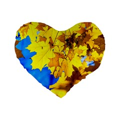 Yellow Maple Leaves Standard 16  Premium Flano Heart Shape Cushions by FunnyCow