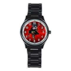Funny, Cute Giraffe With Cool Hat Stainless Steel Round Watch by FantasyWorld7