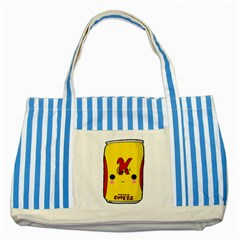 Kawaii Cute Tennants Lager Can Striped Blue Tote Bag by CuteKawaii1982