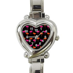 Flamingos Tropical Sunset Colors Flamingo Heart Italian Charm Watch by CrypticFragmentsColors