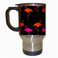 Flamingos Tropical Sunset Colors Flamingo Travel Mugs (white) by CrypticFragmentsColors
