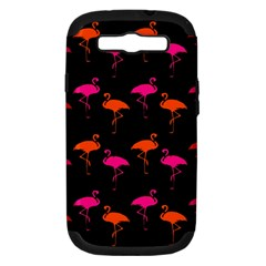 Flamingos Tropical Sunset Colors Flamingo Samsung Galaxy S Iii Hardshell Case (pc+silicone) by CrypticFragmentsColors