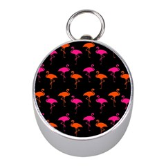 Flamingos Tropical Sunset Colors Flamingo Mini Silver Compasses by CrypticFragmentsColors