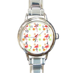 Flamingo Tropical Fruit Pattern Round Italian Charm Watch by CrypticFragmentsColors
