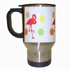 Flamingo Tropical Fruit Pattern Travel Mugs (white) by CrypticFragmentsColors