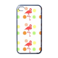 Flamingo Tropical Fruit Pattern Apple Iphone 4 Case (black) by CrypticFragmentsColors