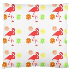Flamingo Tropical Fruit Pattern Large Cushion Case (two Sides) by CrypticFragmentsColors