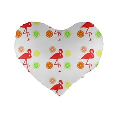 Flamingo Tropical Fruit Pattern Standard 16  Premium Heart Shape Cushions by CrypticFragmentsColors