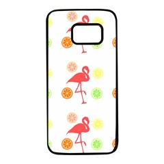 Flamingo Tropical Fruit Pattern Samsung Galaxy S7 Black Seamless Case by CrypticFragmentsColors