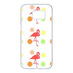 Flamingo Tropical Fruit Pattern Samsung Galaxy S7 Edge White Seamless Case by CrypticFragmentsColors