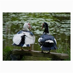 Muscovy Ducks At The Pond Large Glasses Cloth by ImphavokImpressions