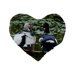 Muscovy Ducks At The Pond Standard 16  Premium Flano Heart Shape Cushions by IIPhotographyAndDesigns